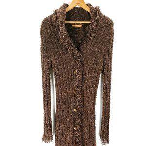 Belldini Long Coat Button Front Brown Nylon Blend